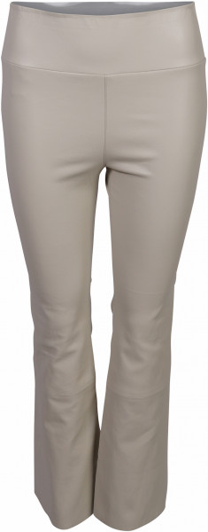 Women's SPRWMN Cropped Flare Lamb Leather Legging Offwhite