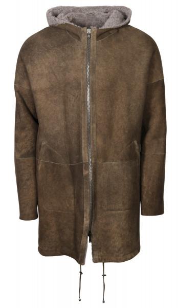 Men's Giorgio Brato Shearling Leatherjacket Forest Grey