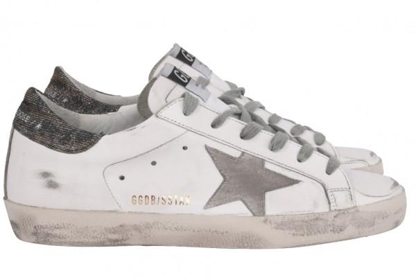 Women's Golden Goose Sneaker Superstar Leather Upper Suede Star Lurex Heel