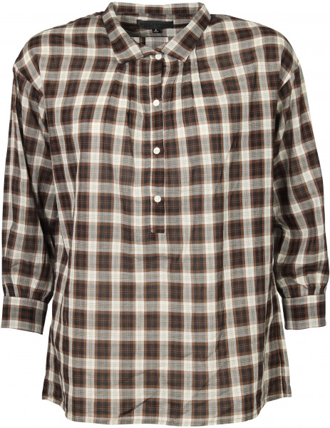 Women's Nili Lotan Myra Shirt Mocha Plaid