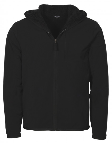 Men's James Perse Sherpa Lined Performance Hooded Jacket Tech Stretch Black