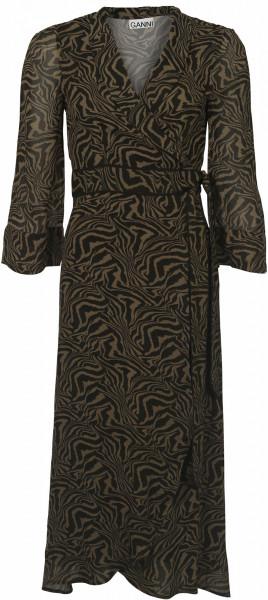 Women's Ganni Wrap Dress Zebra Print Olive/Black