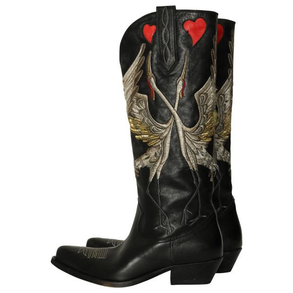 Women's Golden Goose Boots Wish Star Black Love