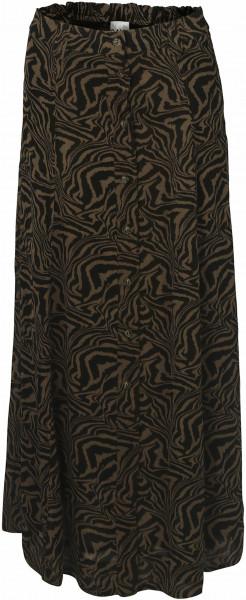 Women's Ganni Long Skirt Zebra Print Olive/Black