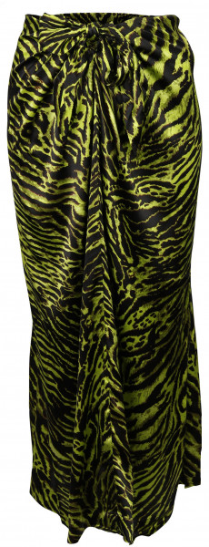 Women's Ganni Silk Stretch Skirt Lime Tiger Print