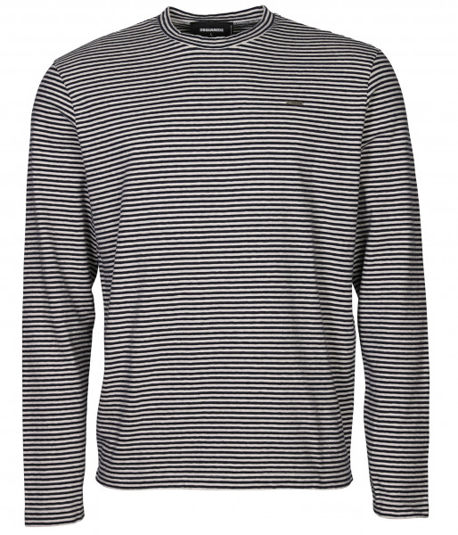 Men's Dsquared Cotton Knit Longsleeve Black/White Stripe