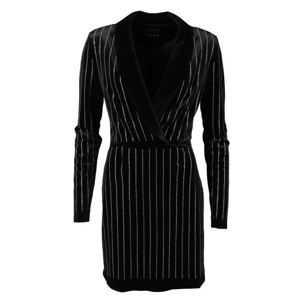 Women's Nikkie Kleid Samt Strass schwarz