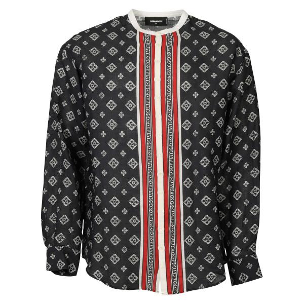 Men´s Dsquared Shirt Linen Blue Patterned