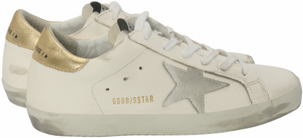 Women's Golden Goose Sneaker Superstar White Leather-Washed Gold