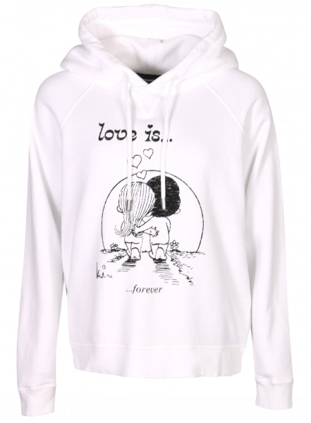 Women's Dsquared Hoodie White Black Printed Love