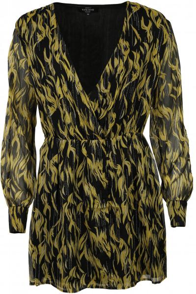 Women's Nikkie Wrap Dress Lemon/Black