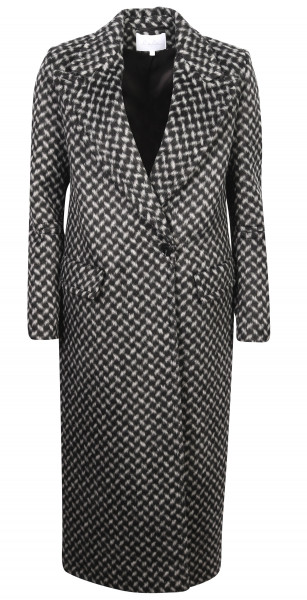 Women's Lala Berlin Coat Cana Kufiya Black/Offwhite