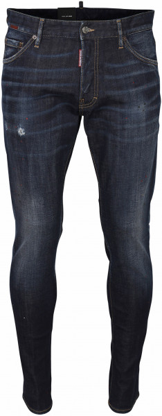 Men's Dsquared Patched Jeans Cool Guy Blue Washed