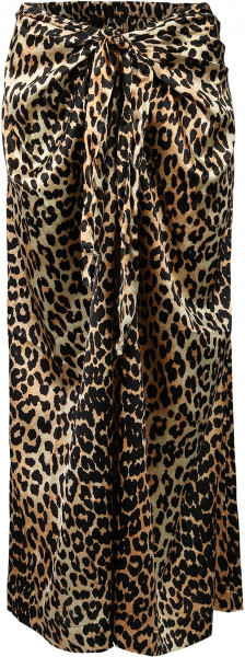 Women's Ganni Silk Stretch Skirt Leopard Print