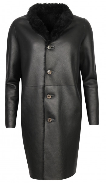 Men's Giorgio Brato Reversible Shearling Coat Black